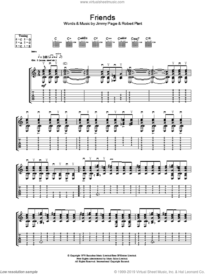 Friends sheet music for guitar (tablature) by Led Zeppelin, Jimmy Page and Robert Plant, intermediate skill level