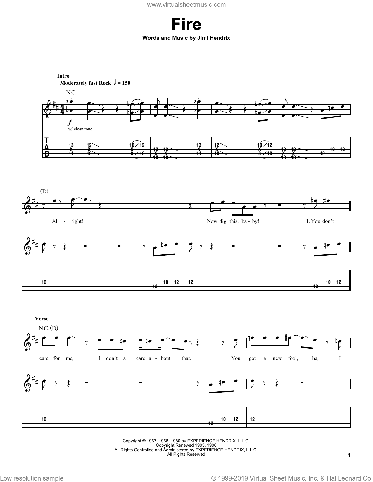 Fire sheet music for guitar (tablature, play-along) by Jimi Hendrix and Red Hot Chili Peppers, intermediate. Score Image Preview.