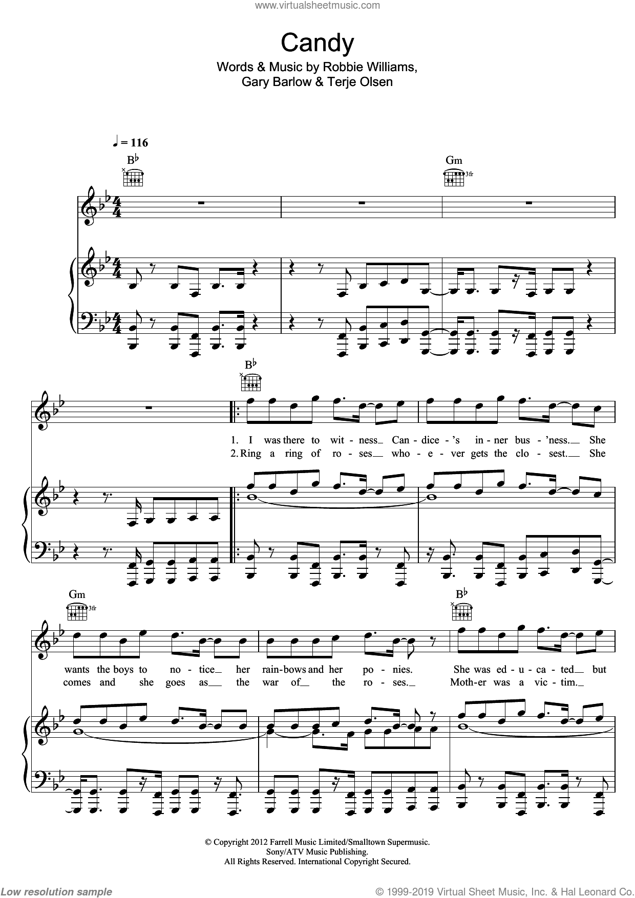 Candy sheet music for voice, piano or guitar by Robbie Williams and Gary Barlow. Score Image Preview.