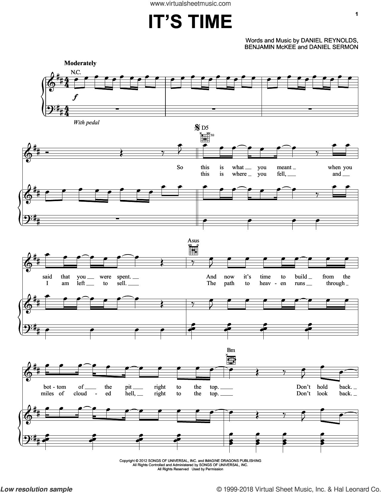 It's Time sheet music for voice, piano or guitar by Imagine Dragons, intermediate skill level