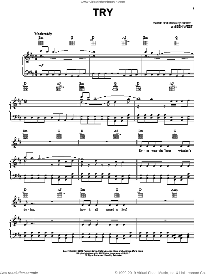 Try sheet music for voice, piano or guitar , Ben West and busbee, intermediate skill level