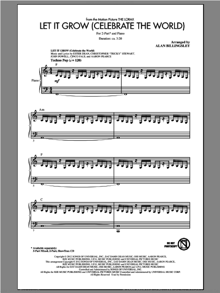 Let It Grow sheet music for choir (duets) by Alan Billingsley and John Powell. Score Image Preview.