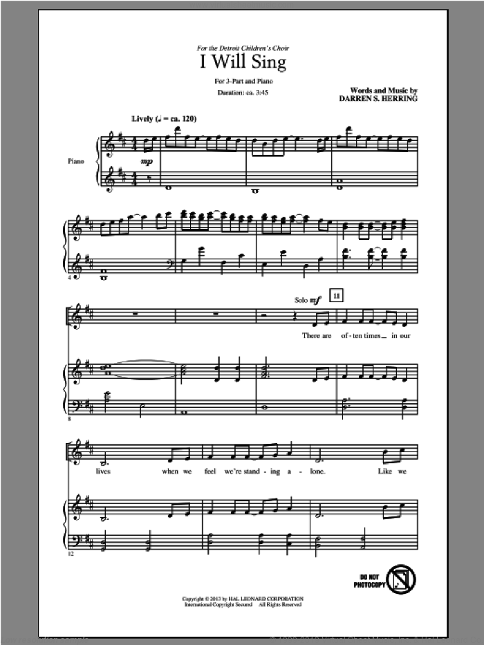I Will Sing sheet music for choir and piano (chamber ensemble) by Darren S. Herring