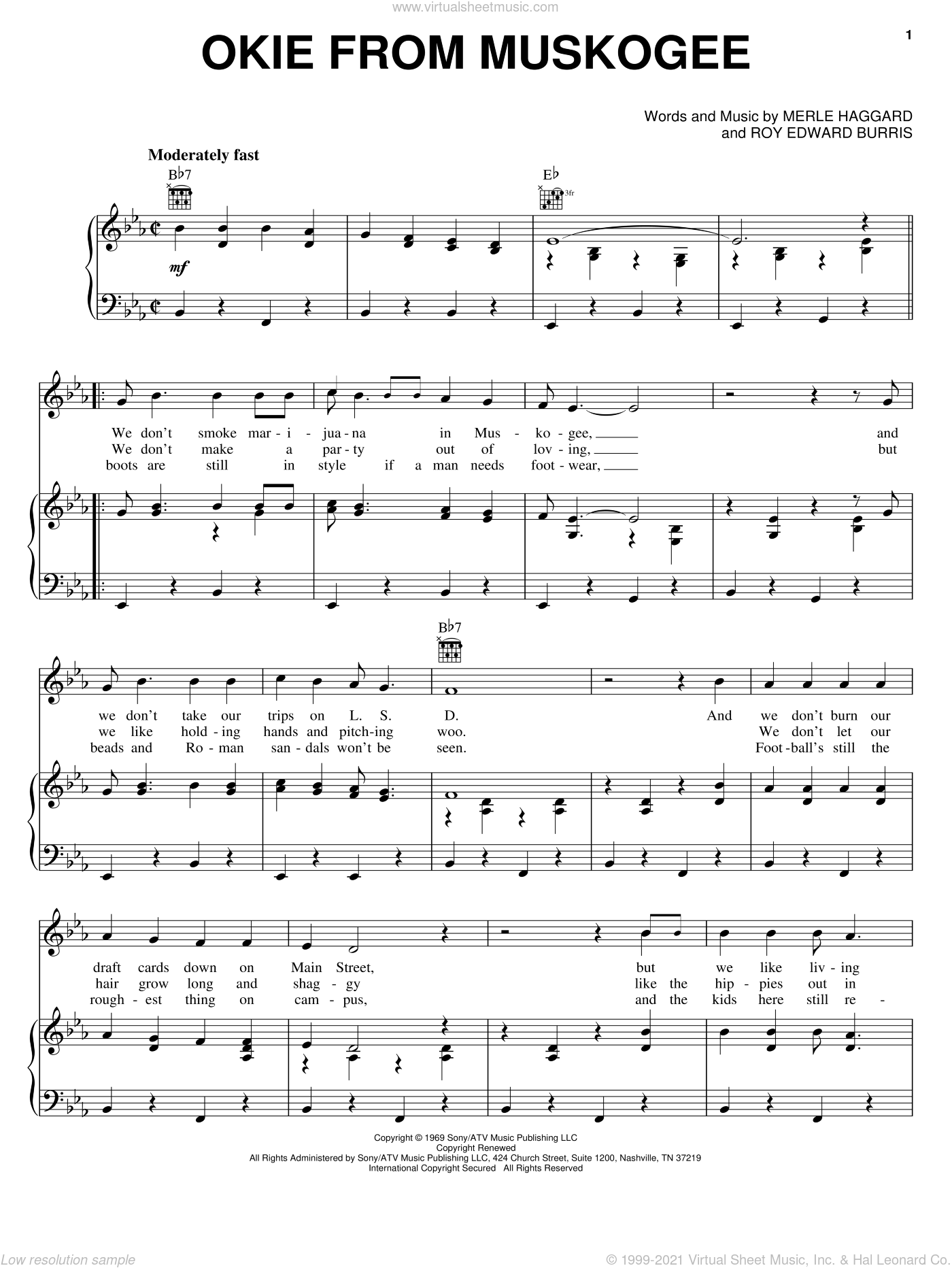 Okie From Muskogee sheet music for voice, piano or guitar by Merle Haggard and Roy Edward Burris, intermediate skill level