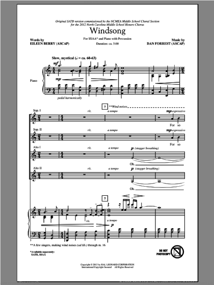 Windsong sheet music for choir (soprano voice, alto voice, choir) by Dan Forrest, intermediate choir (soprano voice, alto voice, choir). Score Image Preview.