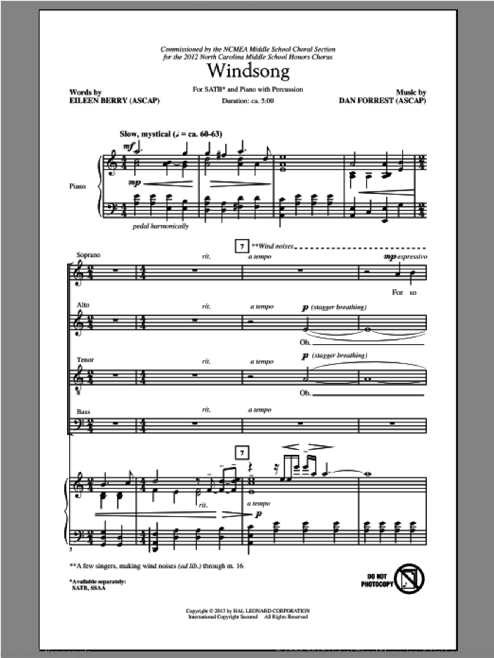 Windsong sheet music for choir (SATB) by Dan Forrest. Score Image Preview.