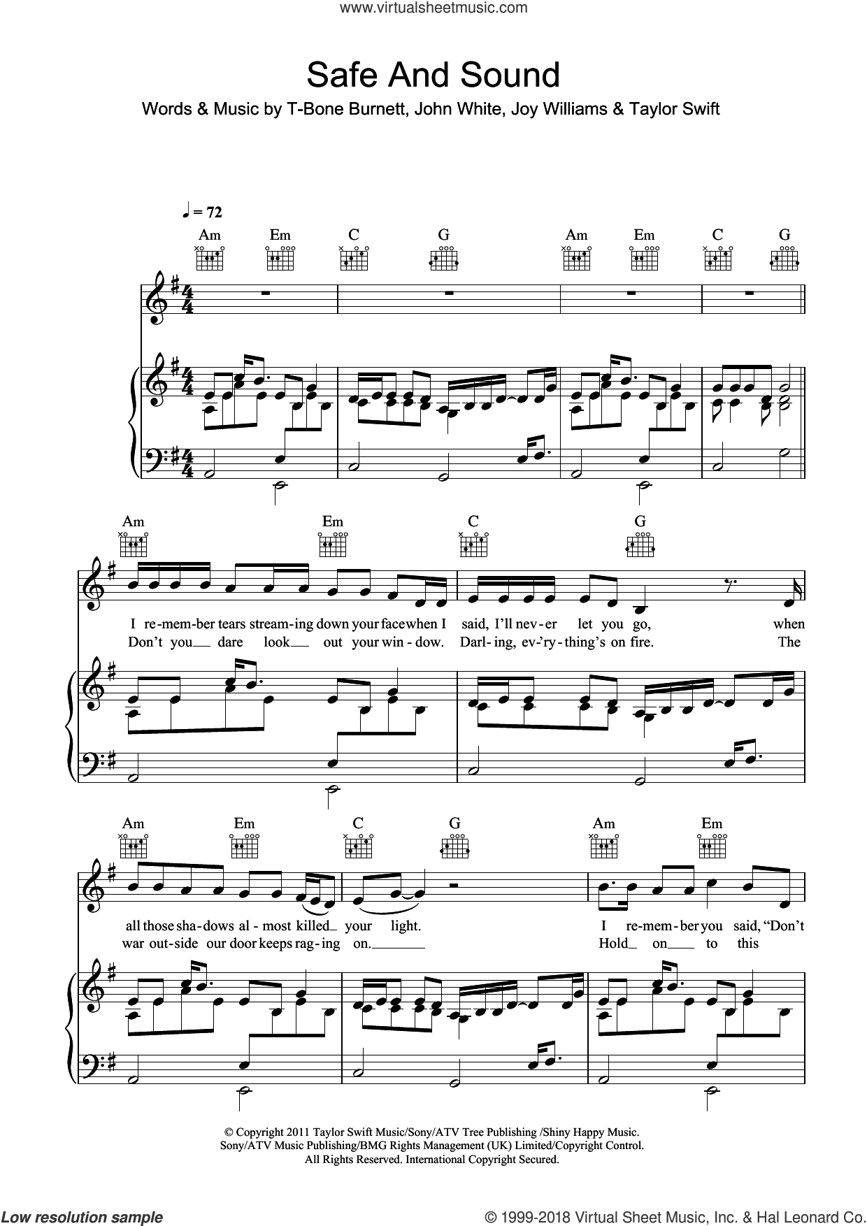 Safe And Sound sheet music for voice, piano or guitar by T-Bone Burnett