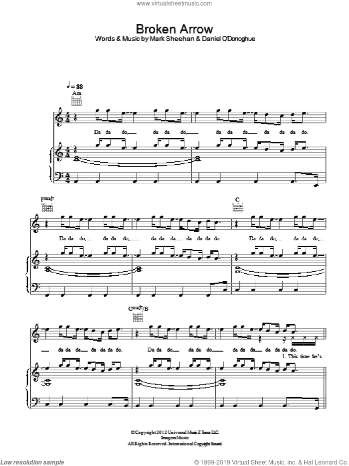 Broken Arrow sheet music for voice, piano or guitar by The Script. Score Image Preview.
