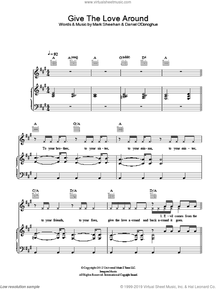 Give The Love Around sheet music for voice, piano or guitar by The Script and Mark Sheehan, intermediate
