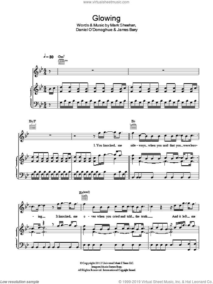 Glowing sheet music for voice, piano or guitar by The Script, James Barry and Mark Sheehan, intermediate skill level
