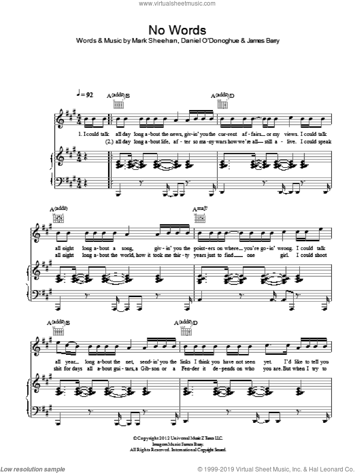 No Words sheet music for voice, piano or guitar by The Script, James Barry and Mark Sheehan, intermediate skill level