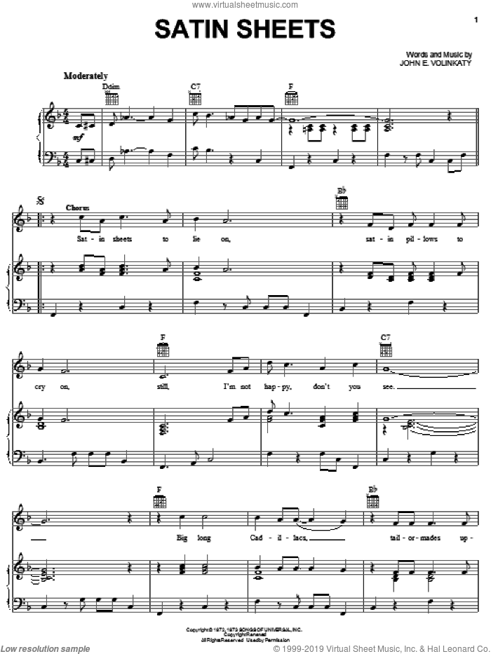 Satin Sheets sheet music for voice, piano or guitar by Jeanne Pruett and John E. Volinkaty, intermediate skill level