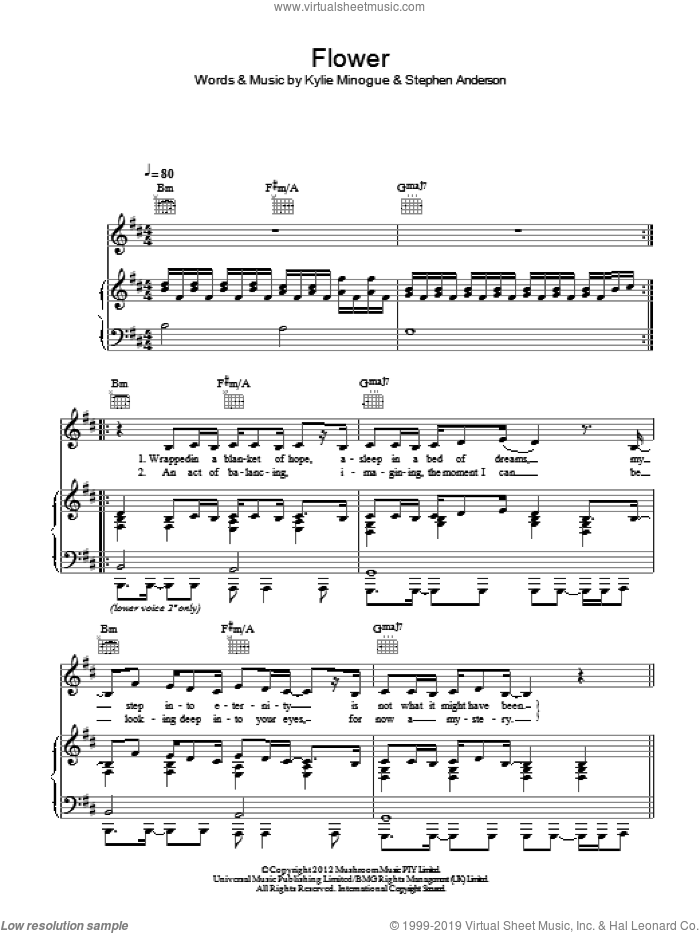 Flower sheet music for voice, piano or guitar by Kylie and Kylie Minogue, intermediate