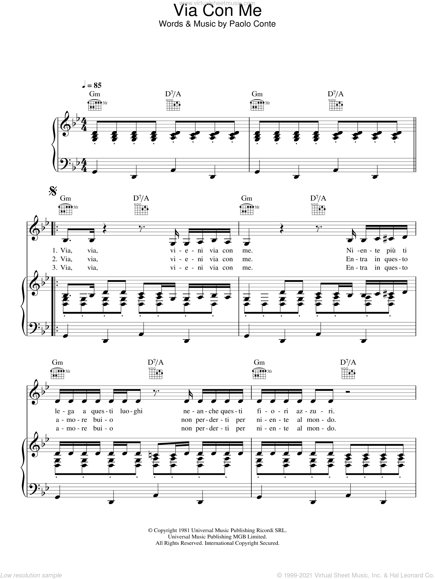 Via Con Me sheet music for voice, piano or guitar by Paolo Conte, intermediate