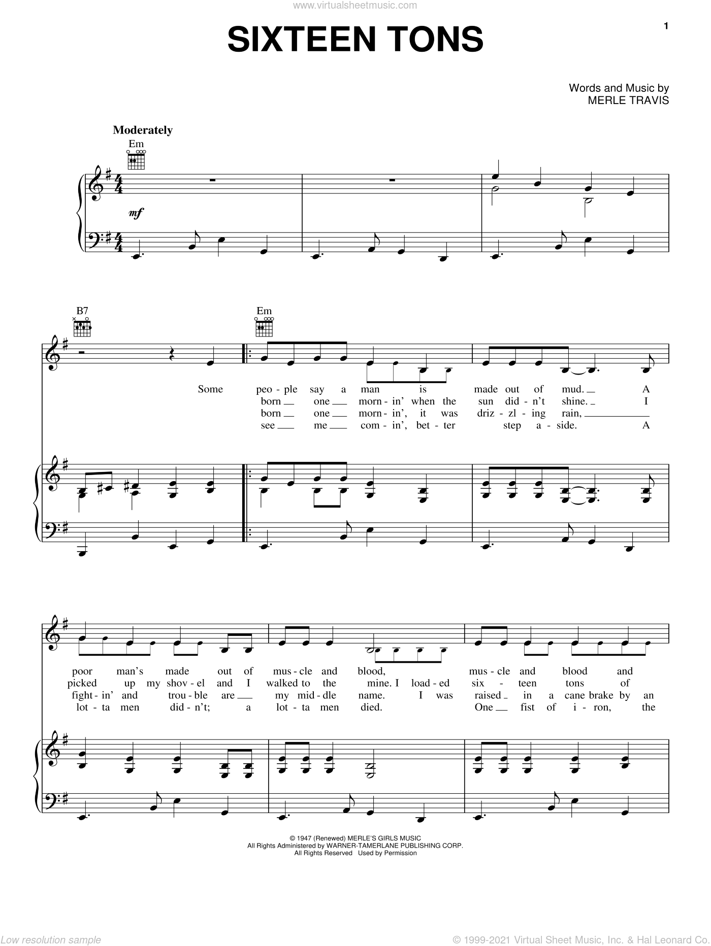 Sixteen Tons sheet music for voice, piano or guitar by Merle Travis and Tennessee Ernie Ford. Score Image Preview.