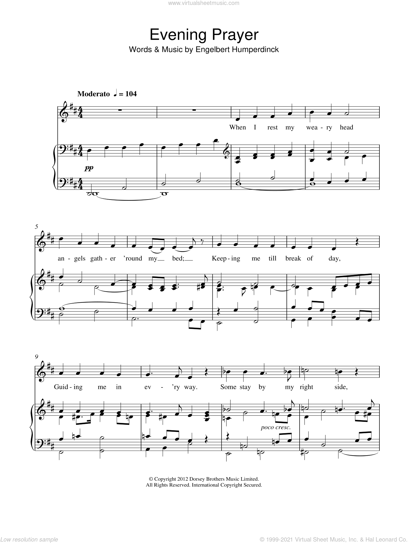 Evening Prayer sheet music for voice and piano by Engelbert Humperdinck, intermediate skill level