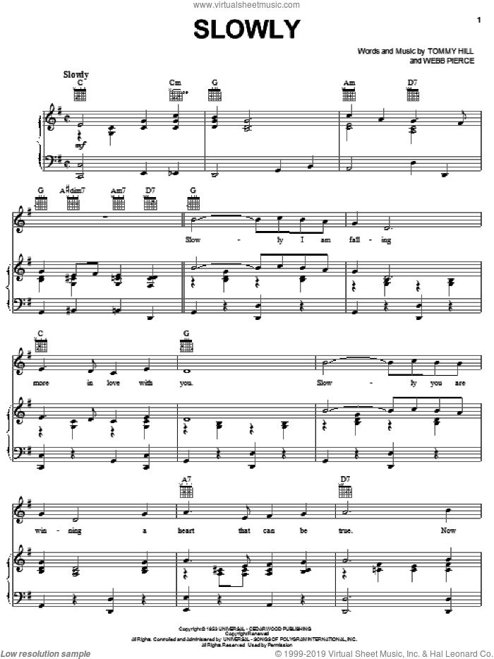Slowly sheet music for voice, piano or guitar by Tommy Hill
