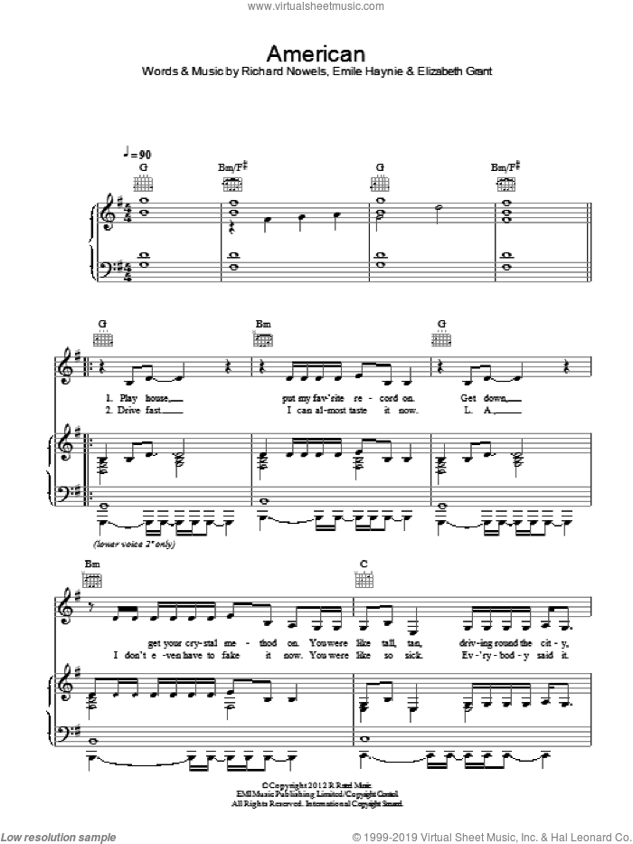 American sheet music for voice, piano or guitar by Lana Del Rey, Elizabeth Grant, Emile Haynie and Rick Nowels, intermediate skill level
