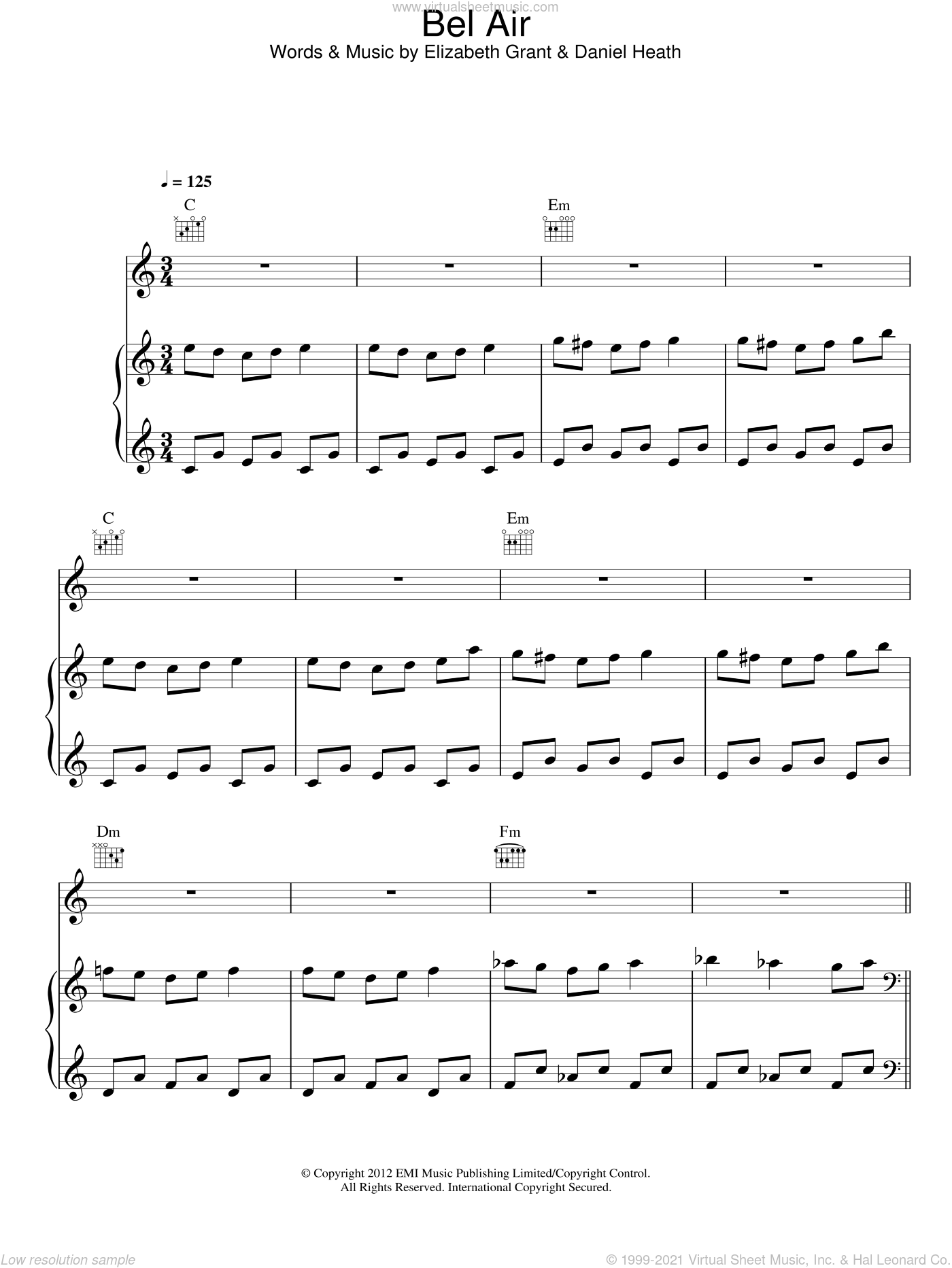 Bel Air sheet music for voice, piano or guitar by Lana Del Rey. Score Image Preview.