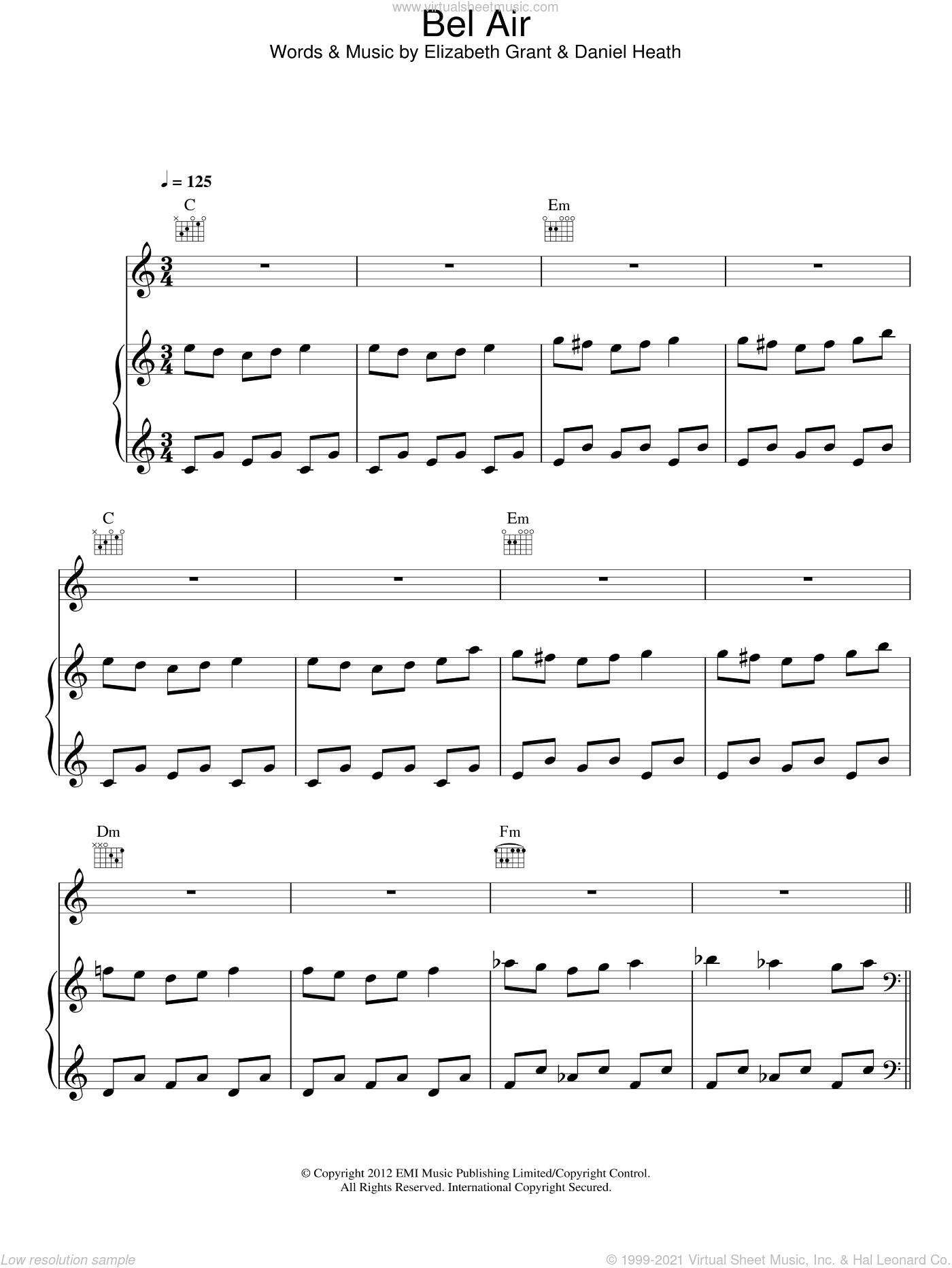 Bel Air sheet music for voice, piano or guitar by Lana Del Rey, Daniel Heath and Elizabeth Grant, intermediate skill level