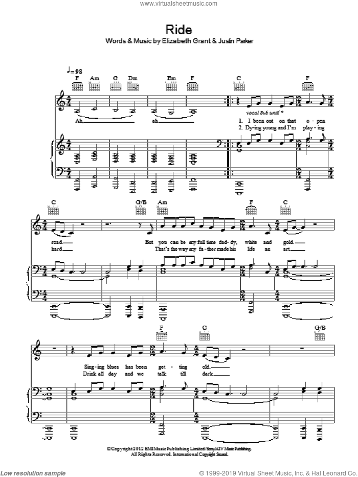Ride sheet music for voice, piano or guitar by Justin Parker