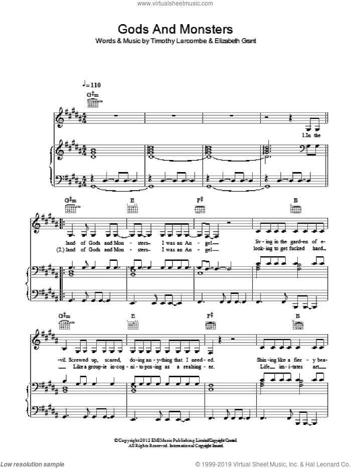Gods And Monsters sheet music for voice, piano or guitar by Timothy Larcombe, Lana Del Rey and Elizabeth Grant. Score Image Preview.