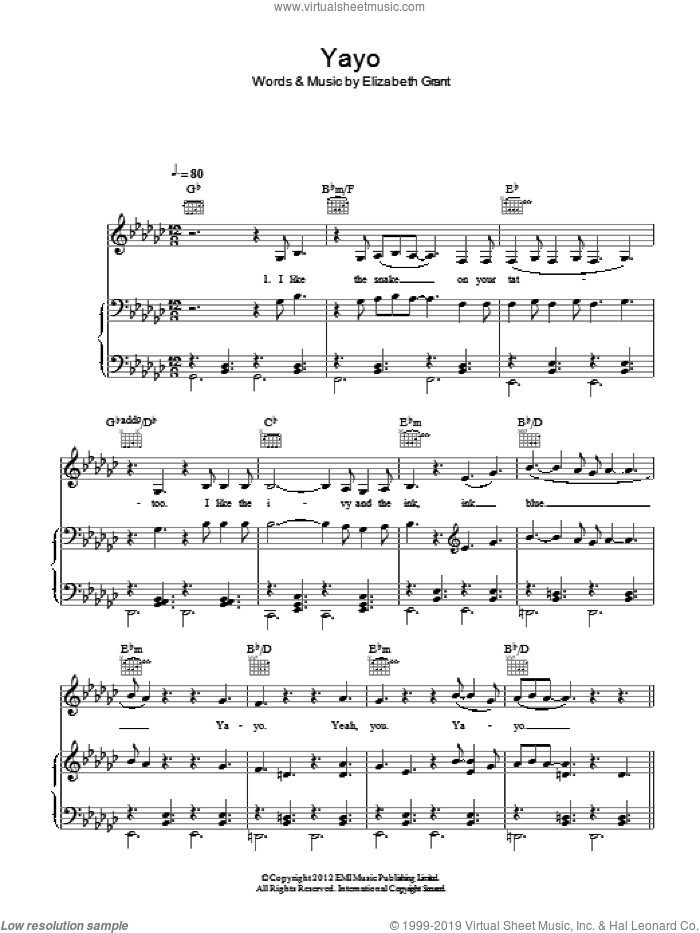Yayo sheet music for voice, piano or guitar by Lana Del Rey and Elizabeth Grant, intermediate. Score Image Preview.