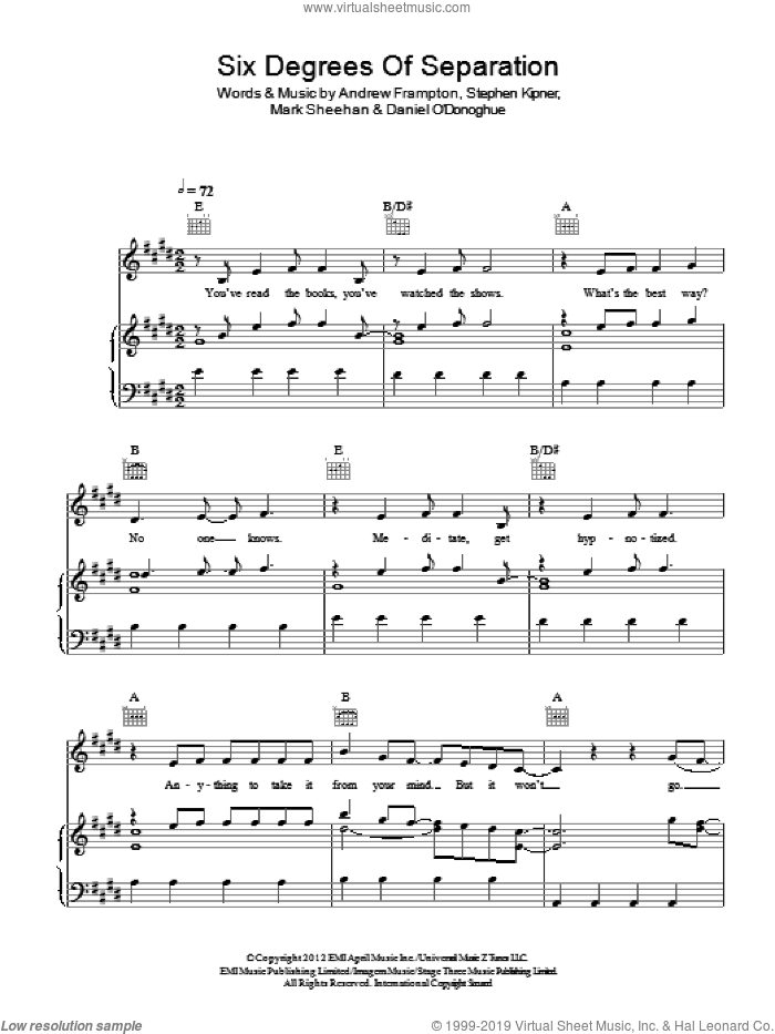 Six Degrees Of Separation sheet music for voice, piano or guitar by The Script, Andrew Frampton, Mark Sheehan and Steve Kipner, intermediate skill level