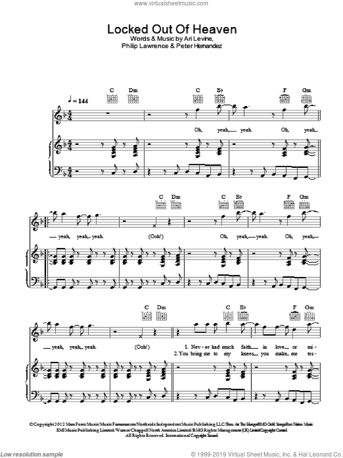 Locked Out Of Heaven sheet music for voice, piano or guitar by Philip Lawrence, Bruno Mars, Ari Levine and Peter Hernandez. Score Image Preview.