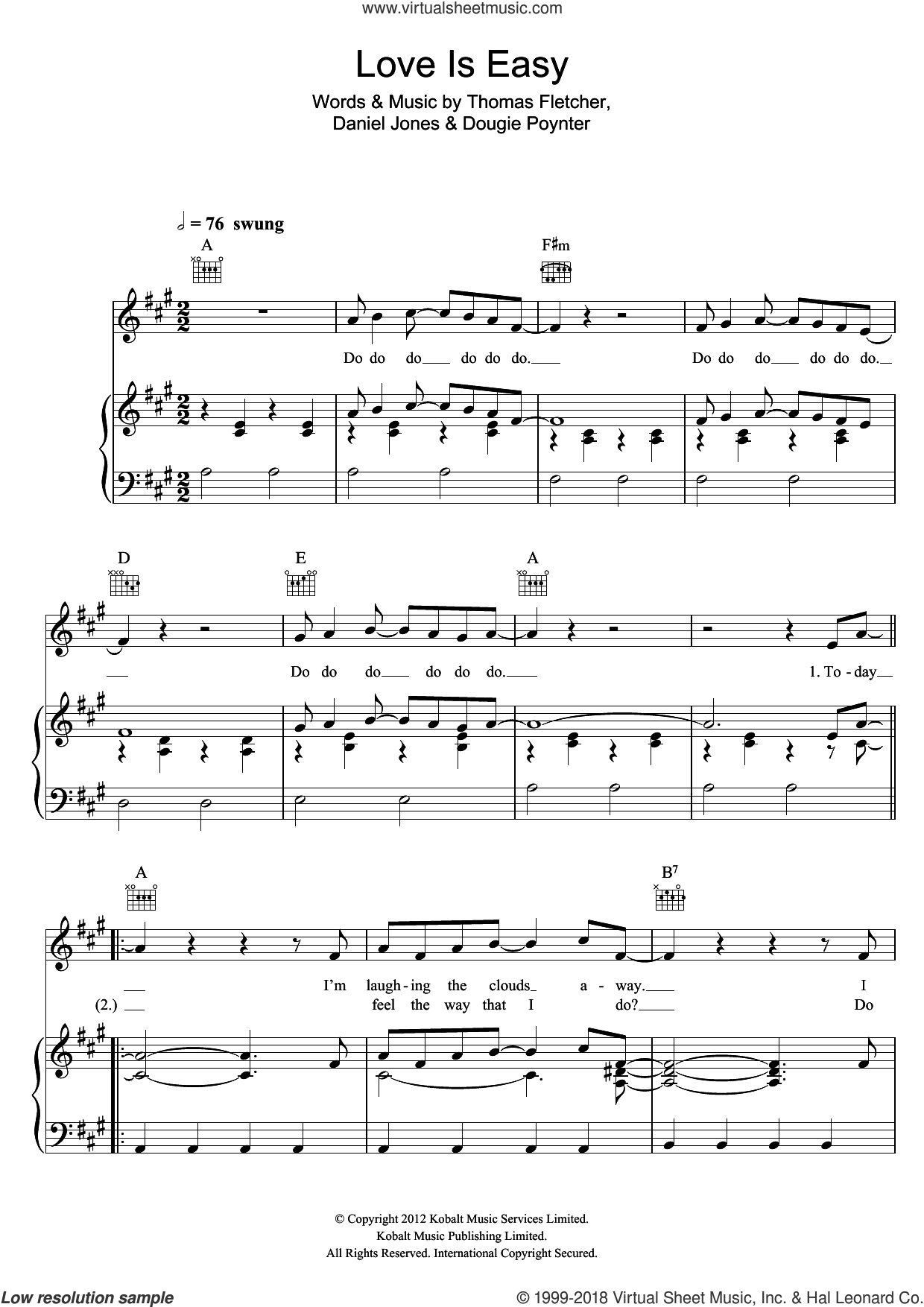 Love Is Easy sheet music for voice, piano or guitar by Thomas Fletcher, Danny Jones and Dougie Poynter. Score Image Preview.