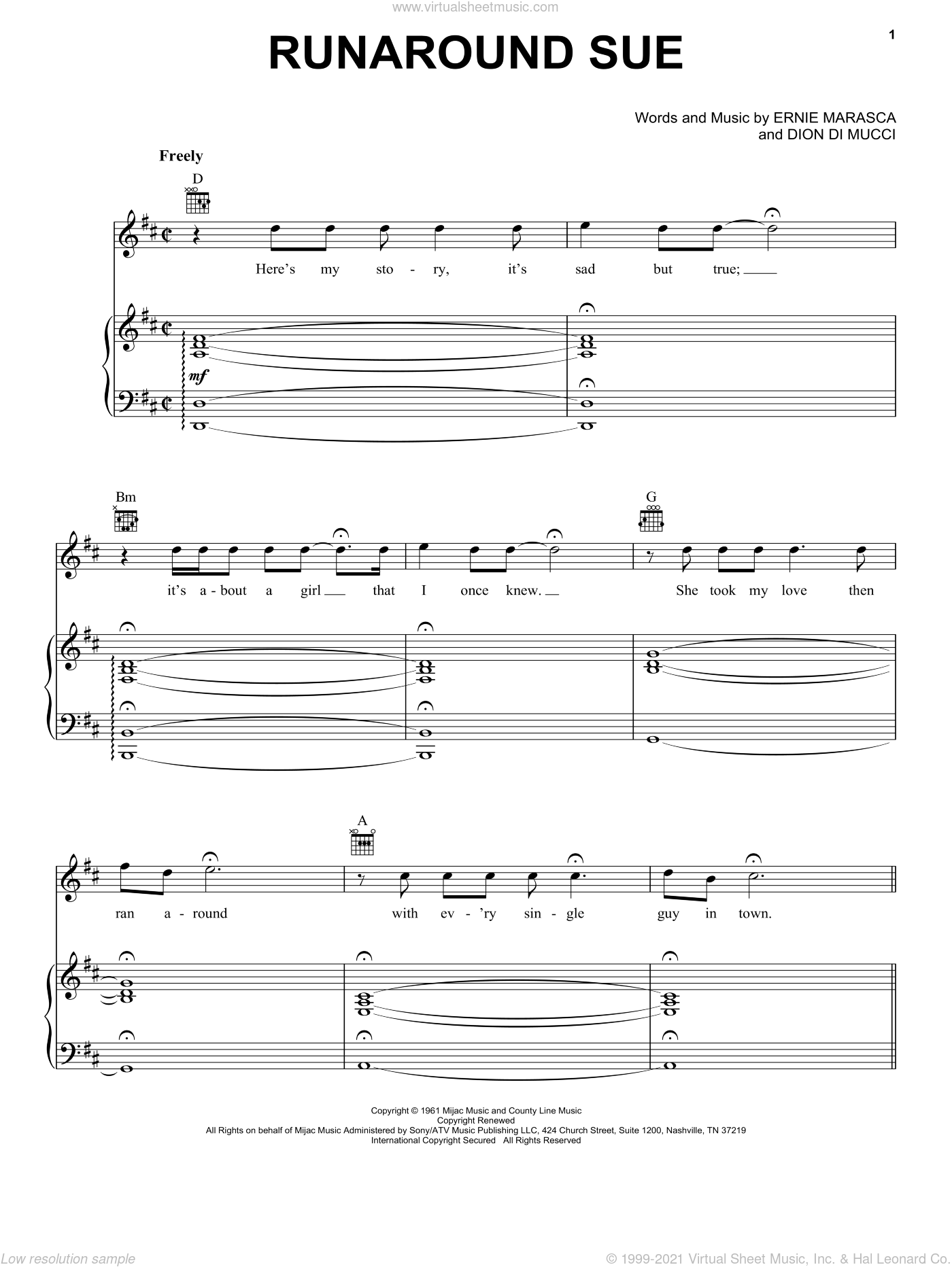 Runaround Sue sheet music for voice, piano or guitar by Dion, Dion Di Mucci and Ernie Maresca, intermediate skill level