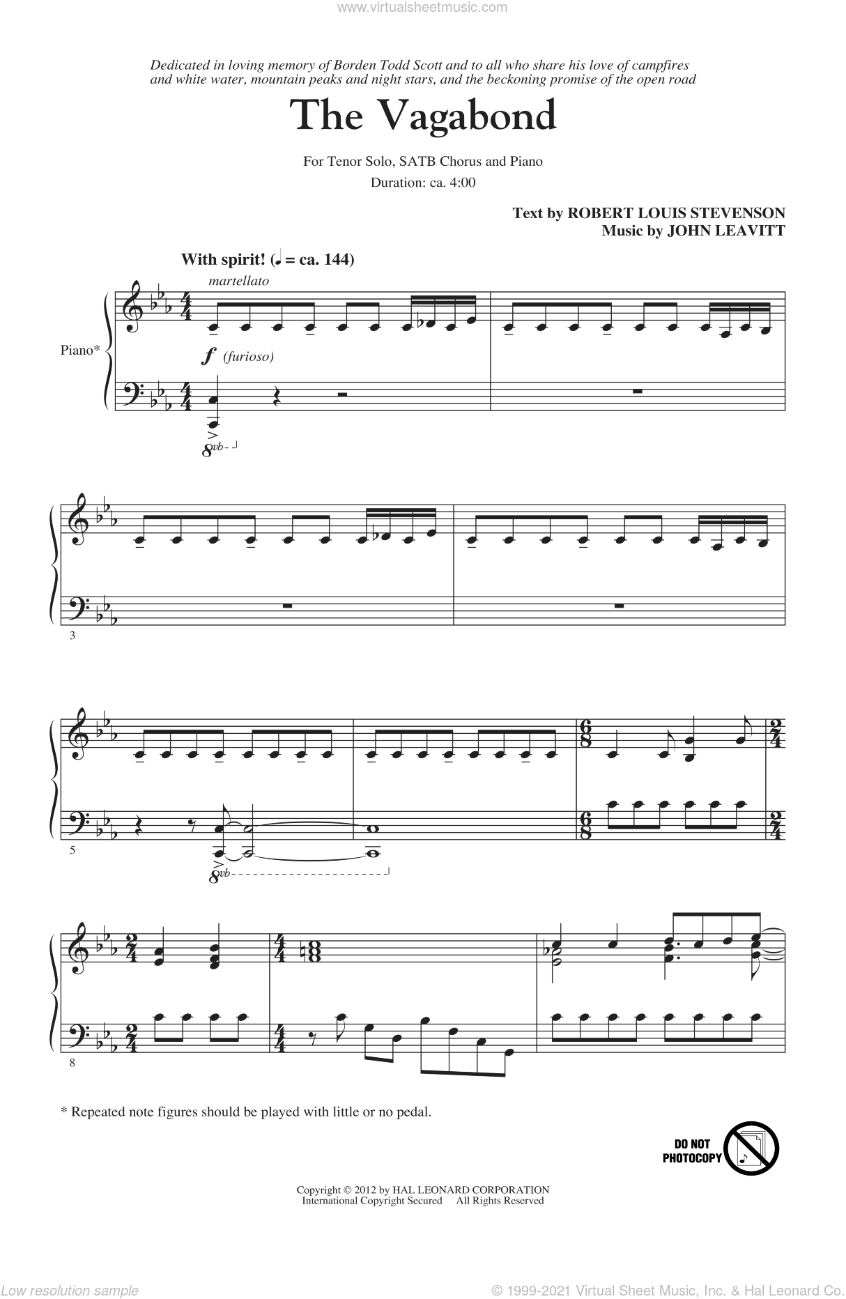The Vagabond sheet music for choir and piano by Robert Louis Stevenson