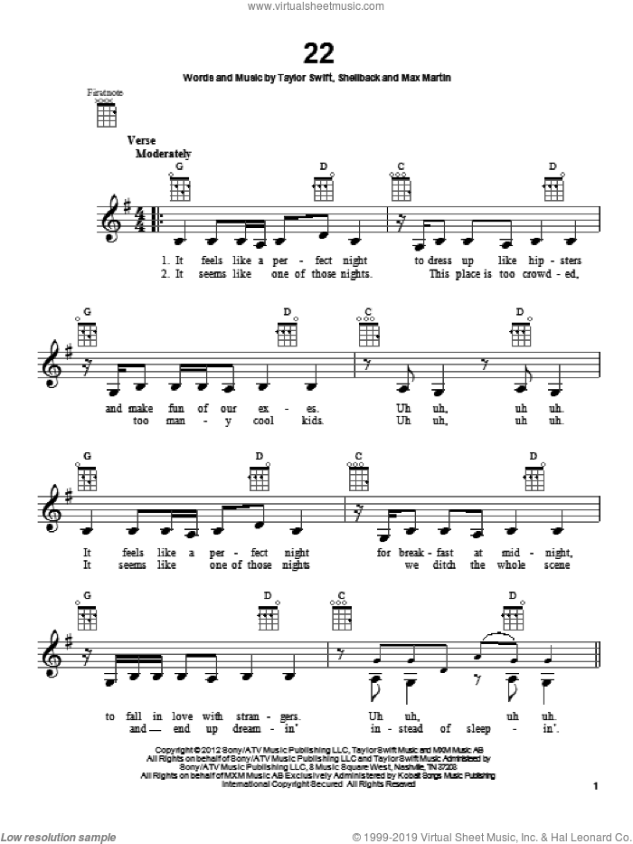 22 sheet music for ukulele by Shellback, Max Martin and Taylor Swift. Score Image Preview.