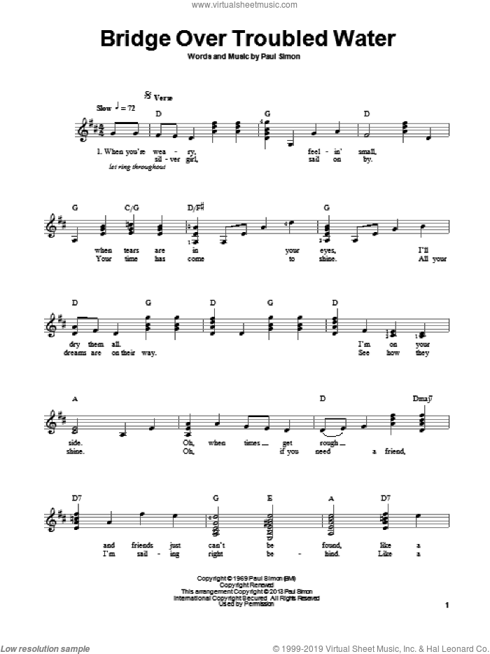Bridge Over Troubled Water sheet music for guitar solo (chords) by Simon & Garfunkel and Paul Simon. Score Image Preview.