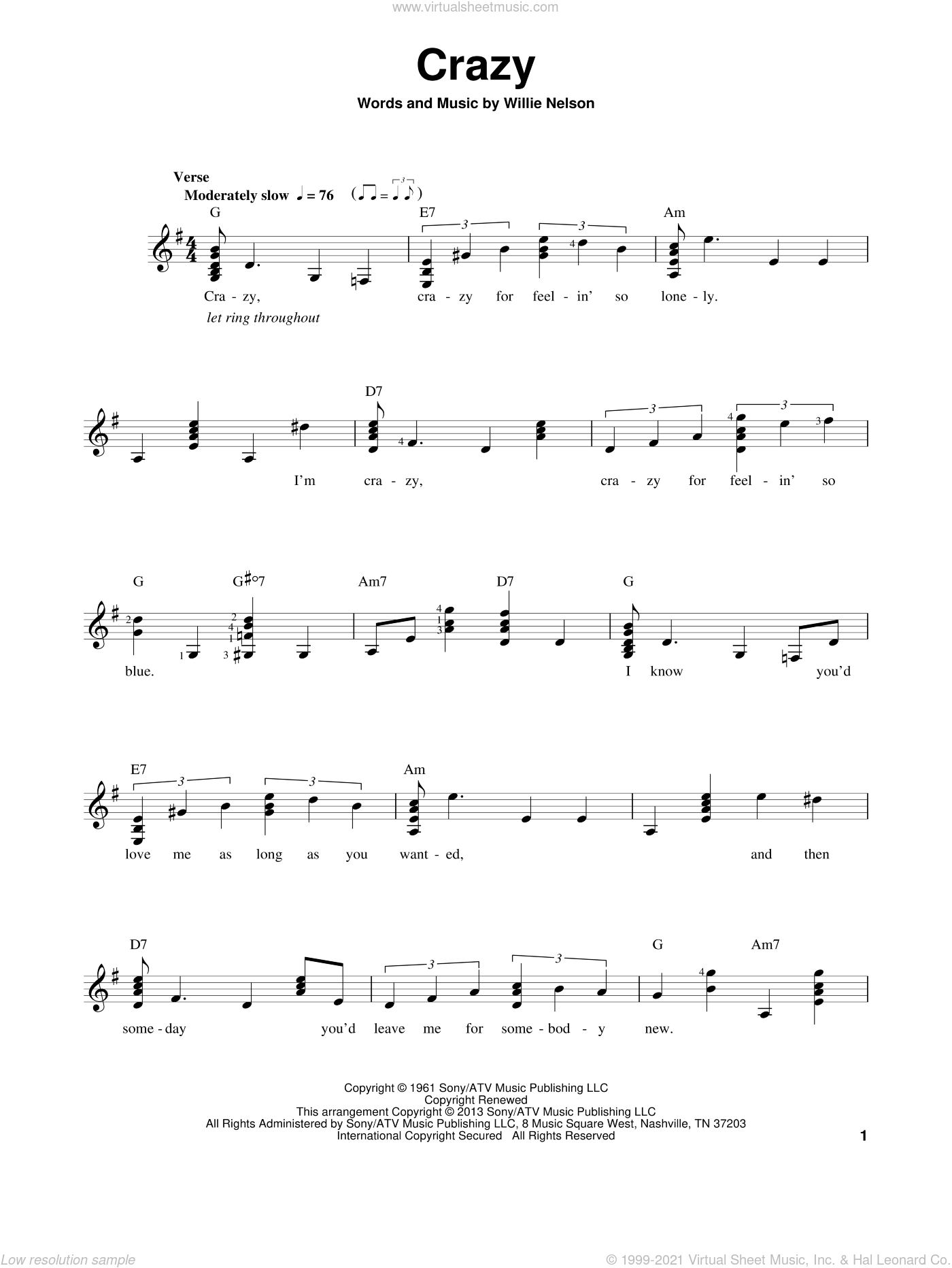 Crazy sheet music for guitar solo (chords) by Patsy Cline and Willie Nelson. Score Image Preview.