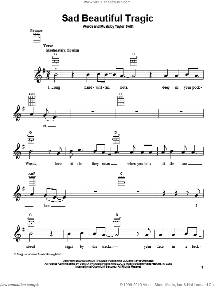 Sad Beautiful Tragic sheet music for ukulele by Taylor Swift. Score Image Preview.