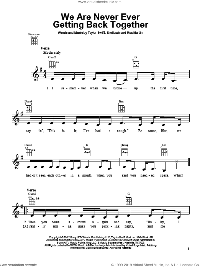 We Are Never Ever Getting Back Together sheet music for ukulele by Shellback, Max Martin and Taylor Swift. Score Image Preview.
