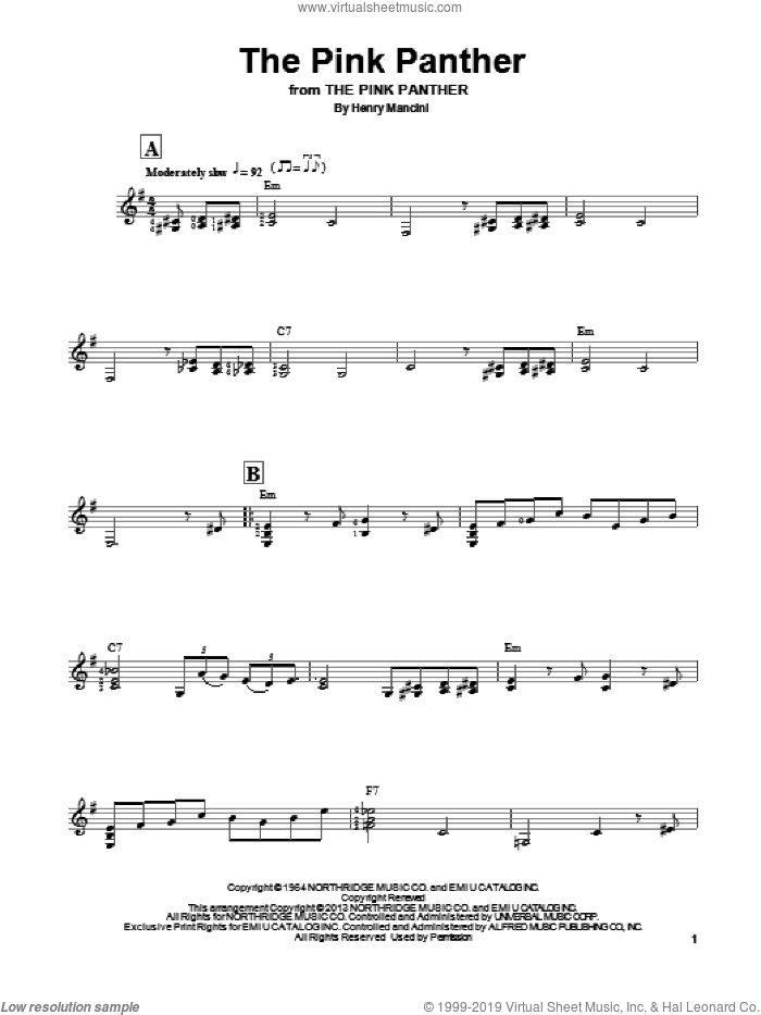 The Pink Panther sheet music for guitar solo (chords) by Henry Mancini, easy guitar (chords)