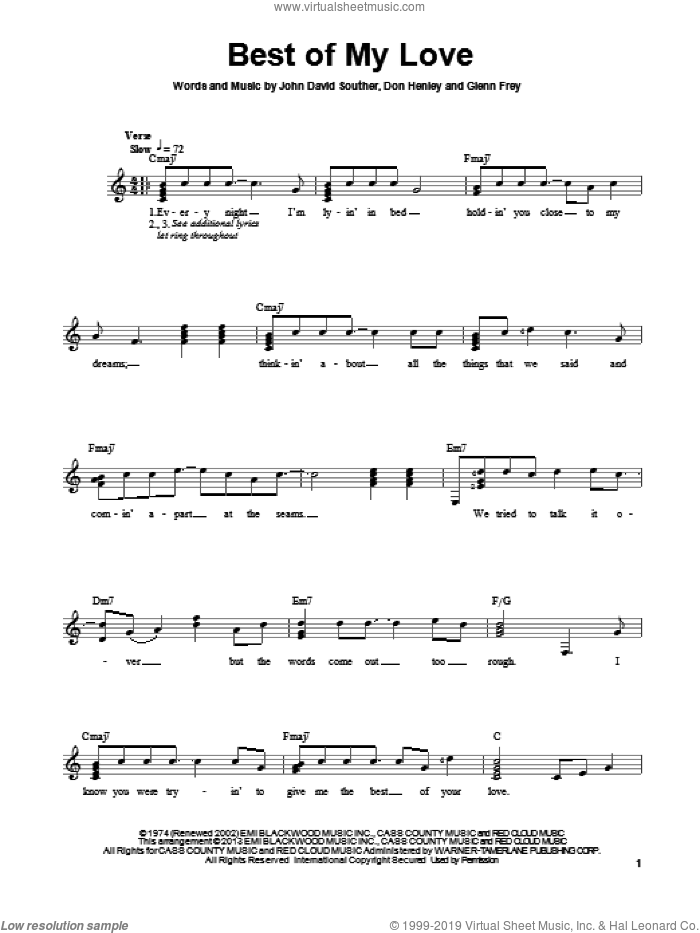 Best Of My Love sheet music for guitar solo (chords) by The Eagles and Don Henley, easy guitar (chords)