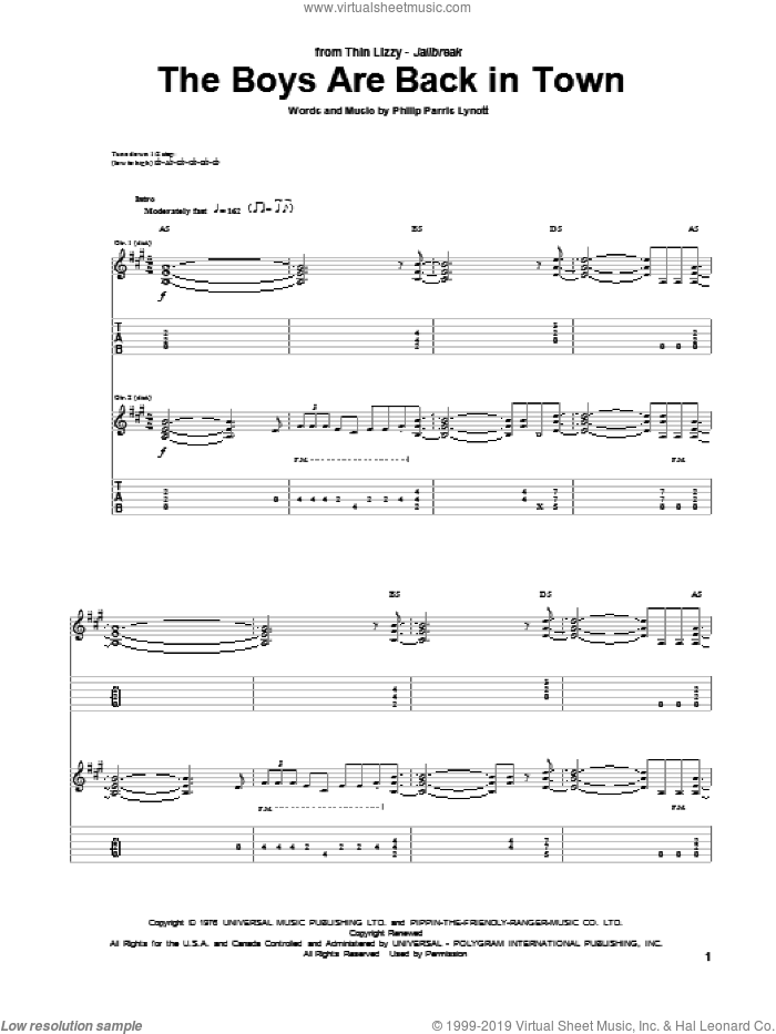 The Boys Are Back In Town sheet music for guitar (tablature) by Phil Lynott and Thin Lizzy. Score Image Preview.