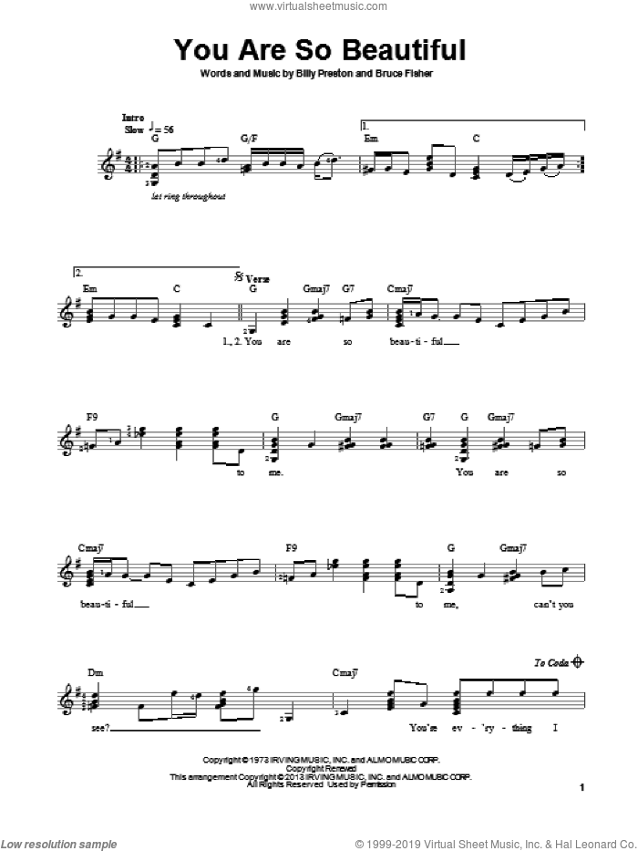 You Are So Beautiful sheet music for guitar solo (chords) by Joe Cocker, Billy Preston and Bruce Fisher, easy guitar (chords)