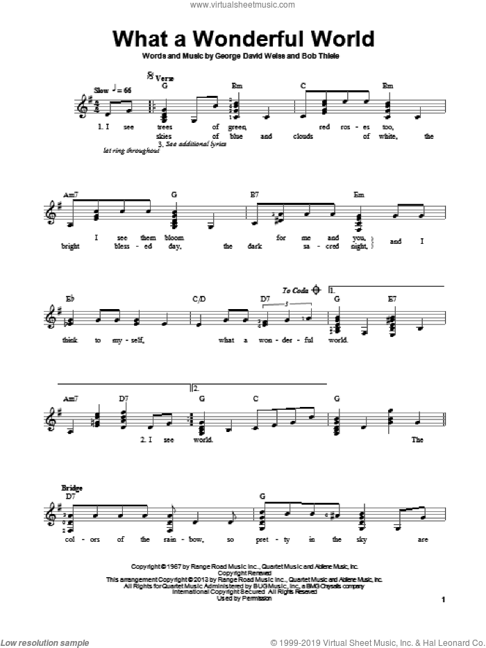 What A Wonderful World sheet music for guitar solo (chords) by Louis Armstrong, easy guitar (chords)