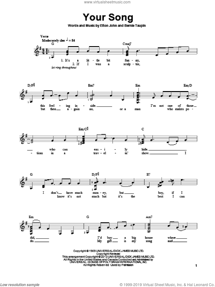 Your Song sheet music for guitar solo (chords) by Bernie Taupin