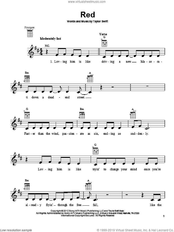 Red sheet music for ukulele by Taylor Swift. Score Image Preview.