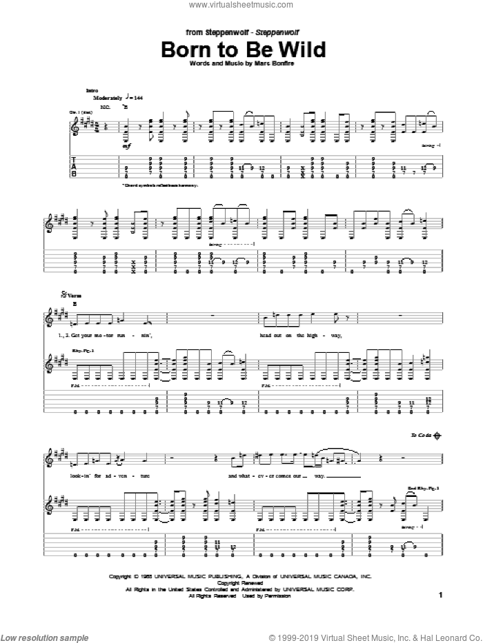 Born To Be Wild sheet music for guitar (tablature) by Mars Bonfire