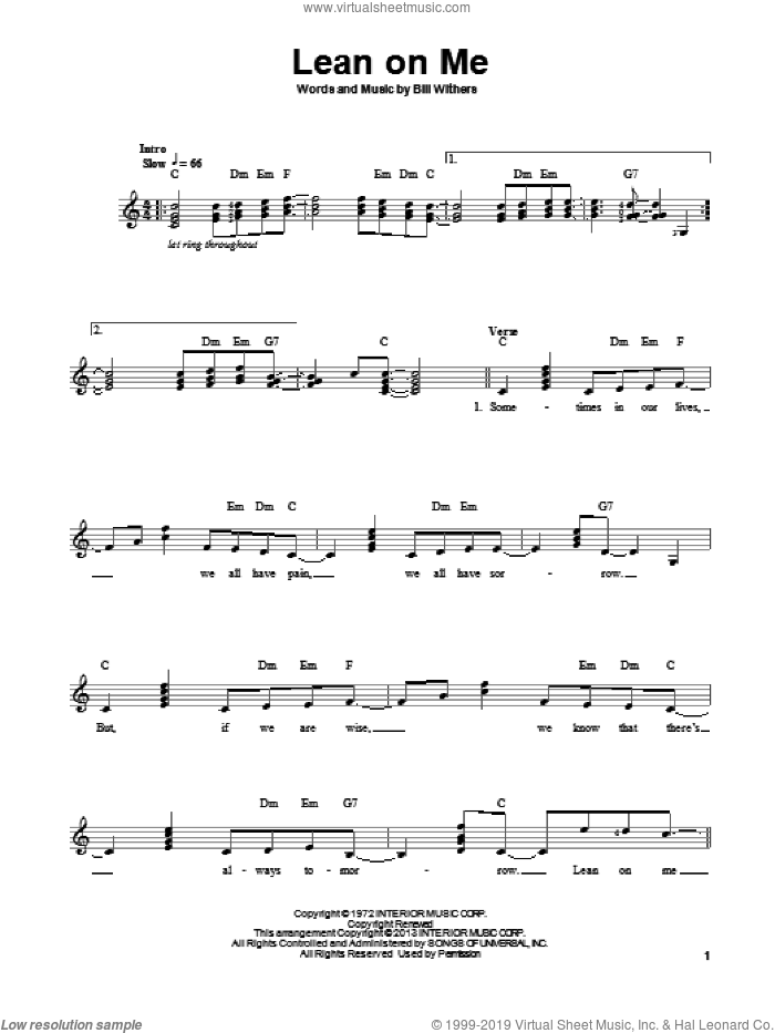 Lean On Me sheet music for guitar solo (chords) by Bill Withers. Score Image Preview.