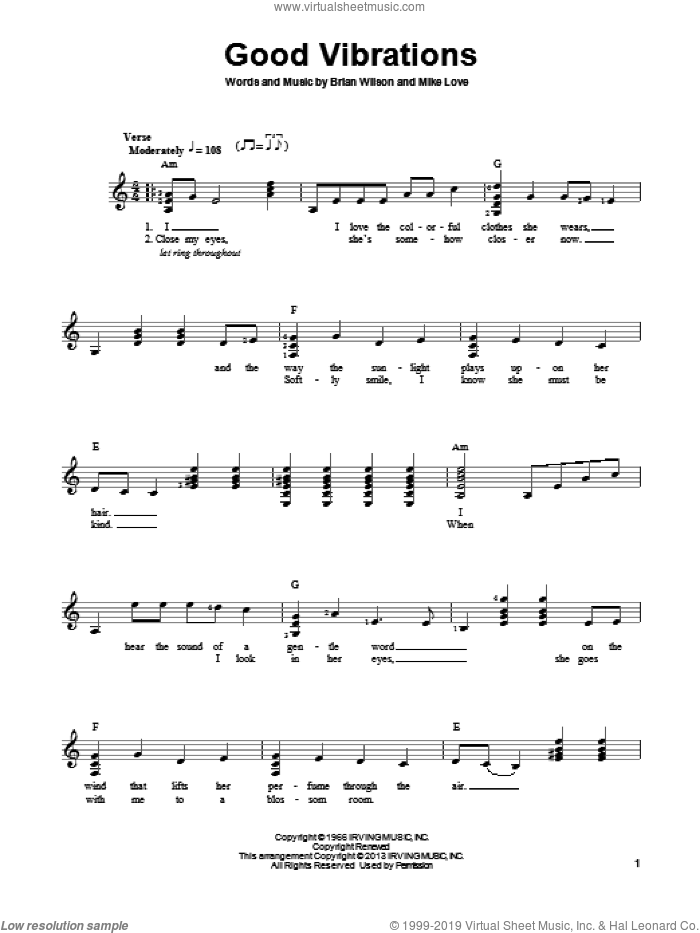 Good Vibrations sheet music for guitar solo (chords) by The Beach Boys, Brian Wilson and Mike Love, easy guitar (chords)