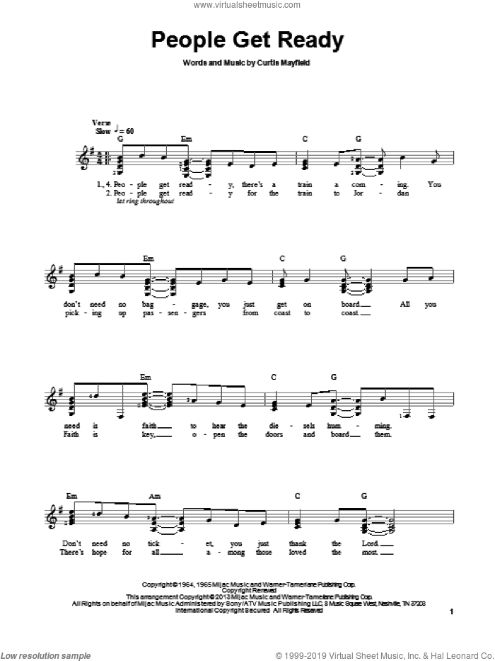 People Get Ready sheet music for guitar solo (chords) by Bob Marley, Curtis Mayfield and Rod Stewart, easy guitar (chords)