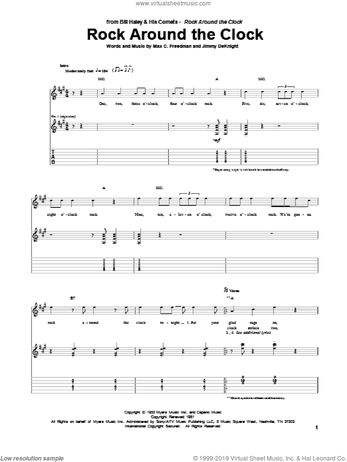 Rock Around The Clock sheet music for guitar (tablature) by Bill Haley & His Comets, intermediate guitar (tablature). Score Image Preview.