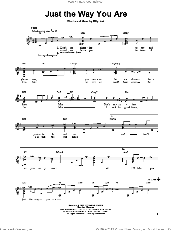 Just The Way You Are sheet music for guitar solo (chords) by Billy Joel, easy guitar (chords)